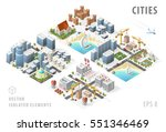 set of isolated isometric... | Shutterstock .eps vector #551346469