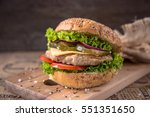 delicious fresh sandwich with...
