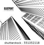 building wireframe. 3d render... | Shutterstock .eps vector #551352118