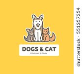 Stock vector vector flat outline logo template with cat and dog friendly cats and dogs 551357254