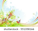 spring background. tree branch... | Shutterstock .eps vector #551358166