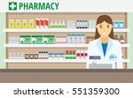 woman pharmacist at the counter ... | Shutterstock .eps vector #551359300