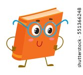 funny orange book character in... | Shutterstock .eps vector #551366248
