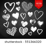 vector white chalk drawn... | Shutterstock .eps vector #551366320
