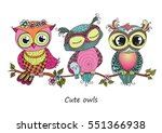 three cute colorful cartoon... | Shutterstock .eps vector #551366938