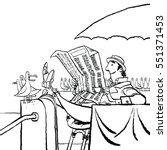 retro man reading a newspaper...   Shutterstock .eps vector #551371453