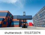 forklift truck lifting cargo...   Shutterstock . vector #551372074