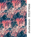 tropical print  palm leaves in... | Shutterstock . vector #551374066