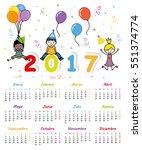 spanish calendar 2017. children ...   Shutterstock .eps vector #551374774
