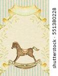 baby rocking horse. watercolor... | Shutterstock . vector #551380228