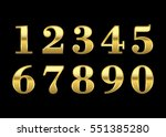 gold numbers set. golden... | Shutterstock .eps vector #551385280