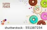 colorful vector cartoon donuts... | Shutterstock .eps vector #551387254