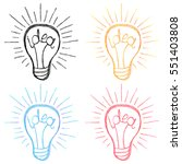 colorful stylized idea bulb.... | Shutterstock .eps vector #551403808