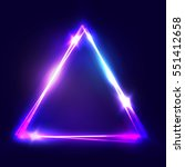 neon sign. triangle background. ... | Shutterstock . vector #551412658