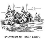 sketch of the winter landscape.... | Shutterstock . vector #551413093