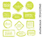 green eco food labels. health... | Shutterstock .eps vector #551413960