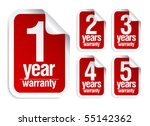 red vector warranty stickers set - stock vector