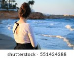 a jewish girl by the sea girl... | Shutterstock . vector #551424388
