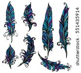 set of ornamental feather ... | Shutterstock .eps vector #551435914