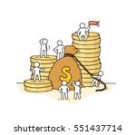 sketch of money bag with... | Shutterstock .eps vector #551437714