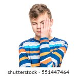 stress and headache   teen boy... | Shutterstock . vector #551447464