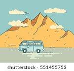 road trip vector flat line... | Shutterstock .eps vector #551455753