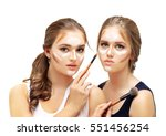 contouring.make up woman face....   Shutterstock . vector #551456254