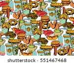 hand drawn fast food menu... | Shutterstock .eps vector #551467468