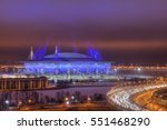 Saint-Petersburg, Russia - December 29, 2016: Western High-Speed Diameter in St. Petersburg near the football Zenith Arena stadium, FIFA World Cup in 2018 at night. - stock photo