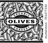 retro olive harvest label black ... | Shutterstock .eps vector #551477230