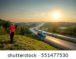 the man in the orange safety... | Shutterstock . vector #551477530