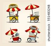 vector cartoon street food cart ... | Shutterstock .eps vector #551483248