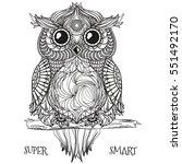 owl. zentangle. ethnic... | Shutterstock .eps vector #551492170