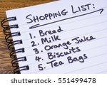 a shopping list written in a... | Shutterstock . vector #551499478