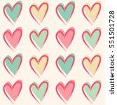 pastel hearts. seamless vector... | Shutterstock .eps vector #551501728
