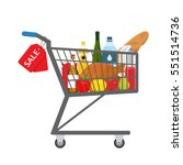shopping trolley full of food ... | Shutterstock .eps vector #551514736