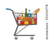 shopping trolley full of food ... | Shutterstock .eps vector #551514778