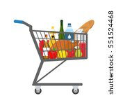 shopping trolley full of food ... | Shutterstock . vector #551524468