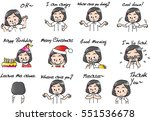 school girl cartoon set   Shutterstock .eps vector #551536678