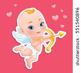baby cupid shooting a bow. st.... | Shutterstock . vector #551540896