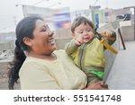 happy biracial family   mother... | Shutterstock . vector #551541748