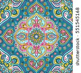 indian floral paisley medallion ... | Shutterstock .eps vector #551545168