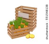 wooden box full of pineapple...   Shutterstock .eps vector #551548138