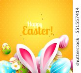 cute easter greeting card with... | Shutterstock .eps vector #551557414