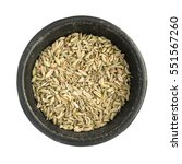 raw dry fennel seeds heap in... | Shutterstock . vector #551567260