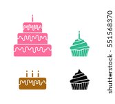 cake icons in silhouette style  ... | Shutterstock .eps vector #551568370