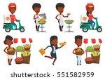 african american courier... | Shutterstock .eps vector #551582959