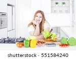 beautiful blonde woman smiling... | Shutterstock . vector #551584240
