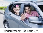 image of young father waving... | Shutterstock . vector #551585074