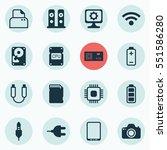 set of 16 computer hardware... | Shutterstock .eps vector #551586280